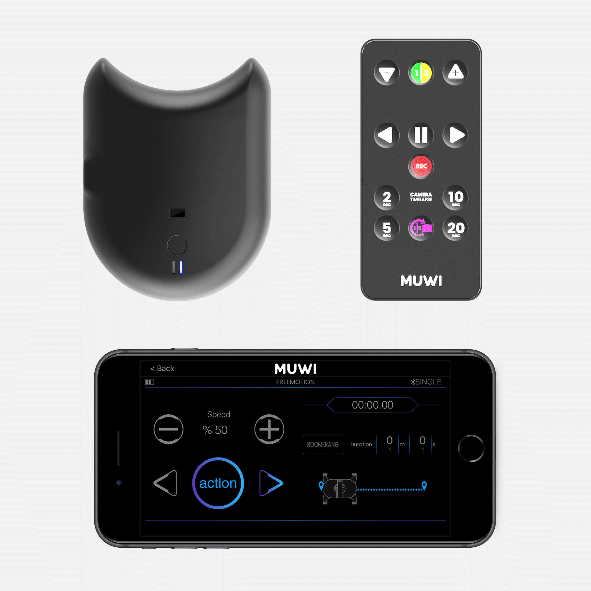 Flow X can be controlled with remote controller or your smartphone by MUWI App.