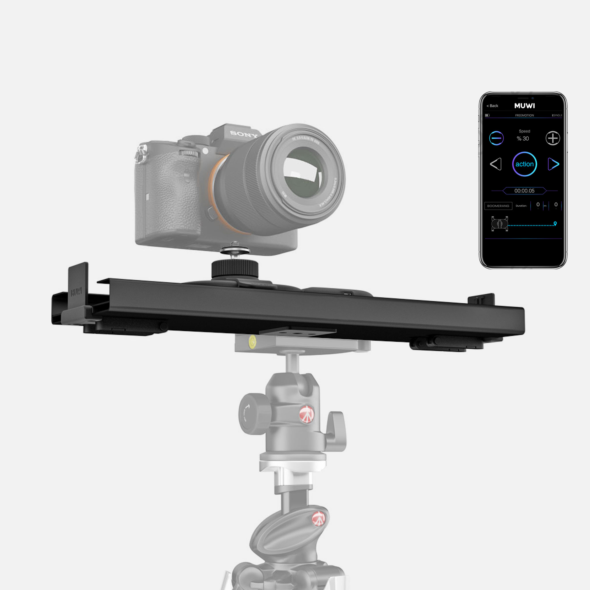 Easy to set up slider Track is compatible with any tripod