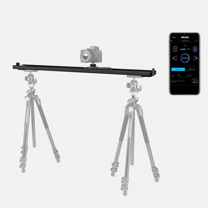 Easy to setup slider Track X Large can be used with two tripods for more stability