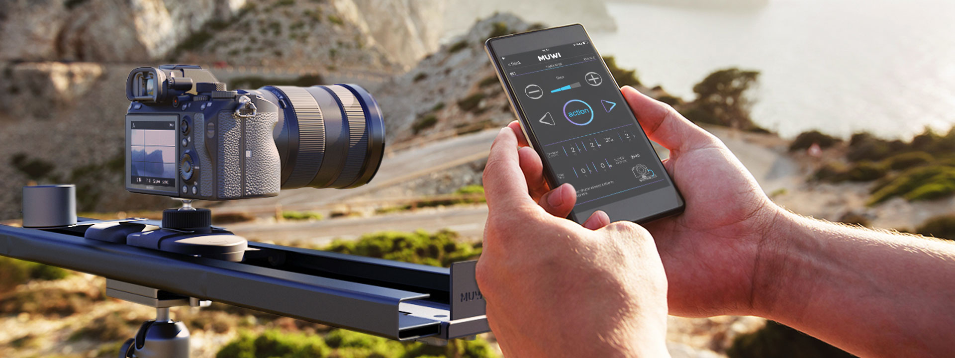 Shoot beautiful time lapse videos with Track, the lightweight and easy to setup slider.