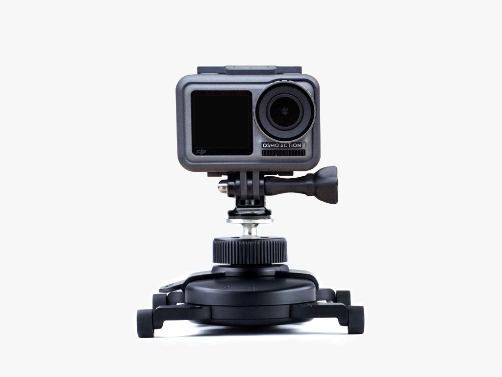 You can use Swivel Clip to attach any camera to your MUWI. Swivel Clip's secure ball joint allows you to capture your videos from any angle.